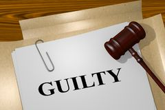 GUILTY - legal concept. 3D illustration of GUILTY title on legal document Stock Image