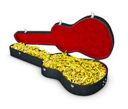 3d Illustration of guitar case with notes. Stock Photos