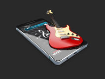 3d illustration of Guitar Lessons app. isolated black Stock Photos