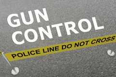 Gun Control concept. 3D illustration of GUN CONTROL title on the ground in a police arena Royalty Free Stock Image