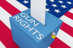GUN RIGHTS concept. 3D illustration of GUN RIGHTS script on a ballot box, with US flag as a background Royalty Free Stock Image