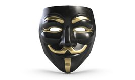 3D illustration of Guy Fawkes vendetta mask isolated on white. 3D illustration of Guy Fawkes anonymous vendetta black mask isolated on white vector illustration