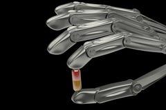 3d illustration, hållande preventivpiller för handrobot Royaltyfri Bild