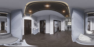 3d illustration hall interior design in classic style. Render is. Made, seamless 360 degree spherical panorama Royalty Free Stock Images