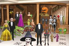 3D Illustration of Halloween Creatures at Halloween party royalty free illustration