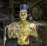 3D Illustration of Halloween Zombie with Skeleton Royalty Free Stock Photo