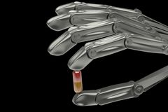 3d illustration, hand robot holding pill Royalty Free Stock Image
