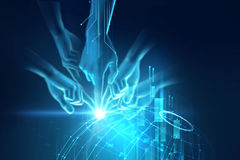 3d illustration of hand touch gesture on futuristic technology. Design element Stock Photo