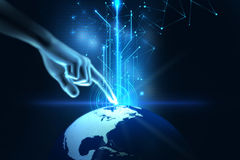 3d illustration of hand touch gesture on futuristic technology. Design element Royalty Free Stock Images