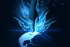 3d illustration of hand touch gesture on futuristic technology. Design element Stock Photography