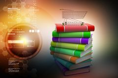Hand truck with books. 3d illustration of hand truck with books Stock Image