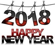 Happy New Year 2018 with Steel Cable. 3D illustration - Happy new year 2018 - Black and red numbers hanging from a steel cable and isolated on a white background Royalty Free Stock Image