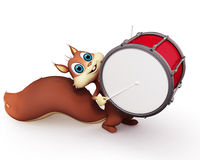 Happy squirrel with drum set Royalty Free Stock Image