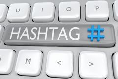 HASHTAG - internet concept. 3D illustration of HASHTAG script allong with Hashtag icon on a computer keyboard Royalty Free Stock Photos