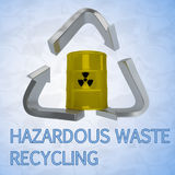 Hazardous Waste Recycling concept. 3D illustration of HAZARDOUS WASTE RECYCLING title with a barrel in a recycling symbol as a background Royalty Free Stock Photo