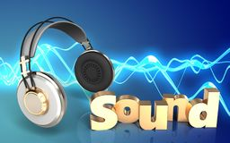 3d blank blank. 3d illustration of headphones over sound wave blue background with 'sound' sign Stock Photo