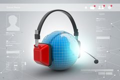 Headset with world globe. Concept for online chat Royalty Free Stock Photos