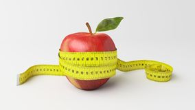 3d illustration healthy apple. A 3d illustration healthy apple with a measure tape. good balance between food and healthy lifestyle Royalty Free Stock Photos