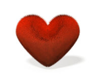 3D illustration of heart covered with red fiber. Stock Images