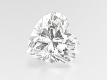 3D illustration heart diamond stone. On a grey background Royalty Free Stock Images