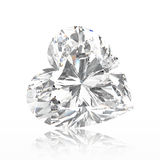 3D illustration heart diamond stone with reflection. On a white background Royalty Free Stock Photo