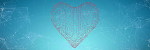Composite image of 3d illustration of heart shape. 3d illustration of heart shape  against blue vignette background Stock Photos