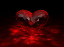 3D illustration of heart shaped ruby. On black background Stock Photography