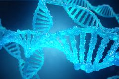 3D Illustration Helix DNA molecule with modified genes. Correcting mutation by genetic engineering. Concept Molecular Stock Images
