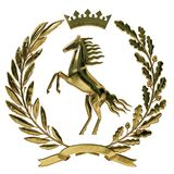 3D illustration Heraldry, coat of arms. Golden olive branch, oak branch, crown, shield, horse. Isolat. vector illustration