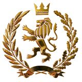 3D illustration Heraldry, coat of arms. Golden olive branch, oak branch, crown, shield, lion. Isolat. stock illustration