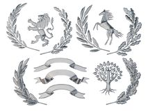3D illustration of heraldry. A set of objects. Silver olive branches, oak branches, crowns, lion, horse, tree. 3D illustration, 3d rendering, of heraldry. A set Royalty Free Stock Photo