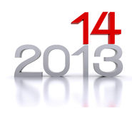 2014 - 3D. 3D illustration - Here comes the new year ... 2014 Stock Image