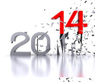 2014 - 3D. 3D illustration - Here comes the new year ... 2014 Stock Images