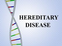 Hereditary Disease concept. 3D illustration of HEREDITARY DISEASE script with DNA double helix , isolated on colored pattern Stock Image