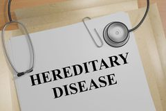 Hereditary Disease - medical concept. 3D illustration of HEREDITARY DISEASE title on a medical document Stock Image