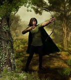 Archer Outlaw Robin Hood in Forest. 3d illustration of the heroic outlaw Robin Hood, from English folklore. The highly skilled archer takes aim in Nottingham Royalty Free Stock Images