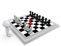 3D Illustration of highlighting a move in chess made by a pawn Stock Photo