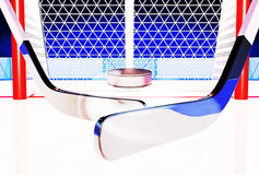 3d illustration of Hockey Sticks and Puck on the Ice Rink. Royalty Free Stock Photo