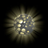 3D illustration of hollow ball with shine inside. On black background Stock Images