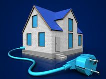 3d cable over dark blue. 3d illustration of home with cable over dark blue background Stock Image