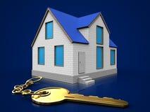 3d golden key over dark blue. 3d illustration of home with golden key over dark blue background Royalty Free Stock Images