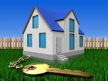 3d golden key over lawn and fence. 3d illustration of home with golden key over lawn and fence background Stock Photos