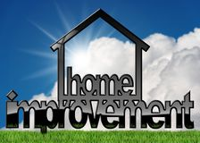 Home Improvement Symbol on a Lawn. 3D illustration of a home improvement symbol on green grass and blue sky with clouds and sun rays Stock Photo