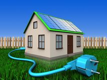 3d cable over lawn and fence. 3d illustration of home with solar panel with cable over lawn and fence background Stock Images