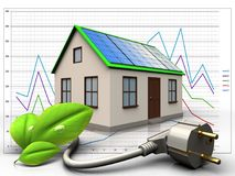 3d eco power cable over diagram. 3d illustration of home with solar panel with eco power cable over diagram background Royalty Free Stock Photo