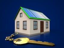 3d golden key over dark blue Stock Photos