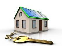 3d golden key over white. 3d illustration of home with solar panel with golden key over white background Stock Images
