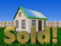 3d sold sign over lawn and fence Stock Image