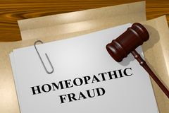 Homeopathic Fraud concept. 3D illustration of HOMEOPATHIC FRAUD title on legal document Royalty Free Stock Photos