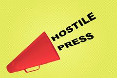 Hostile Press concept. 3D illustration of HOSTILE PRESS title flowing from a loudspeaker Royalty Free Stock Images